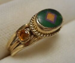 Benny And Valerie Aldrich 14k Y Gold Ring Southwest Intarsia Stone Inlay Size 6.5