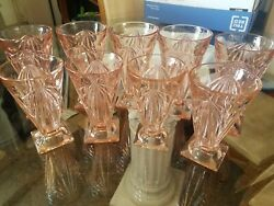 9 Pink Pyramid Tumblers From Indiana Glass Co