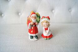 Vintage Lefton Christmas Mr. And Mrs. Santa Claus Figurines 4 And 3.25 Taiwan
