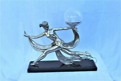 Art Deco Nude Lady Lamp Silvered Bronze Black Marble Base Signed In Bronze
