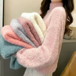 Lady Faux Mohair Furry Sweater Jumper Pullover Beads Puff Sleeve Warm Sweet Cute