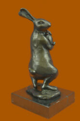 European Bronze Statues Animal Sculptures Bunny Rabbit Mom son Figurine Marble
