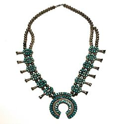 Vintage Turquoise And Coral Squash Blossom Necklace + Earrings