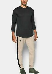 Under Armour Menand039s Beige Canvas Ua Sportstyle Stacked Terry Fitted Joggers 4xl-
