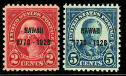 Us Scott 647 And 648 Hawaii 2andcent And 5andcent Overprint 1928 Set Of 2 Mnhfree Ship