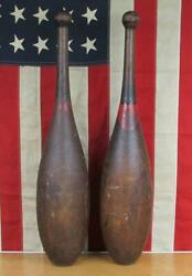 Vintage 1890s Wood Indian Club Huge Exercise Pins 27 Tall Antique Gym Decor