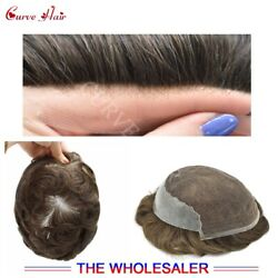 French Lace Front Mens Toupee Skin Poly Hairpiece Human Hair Replacement System