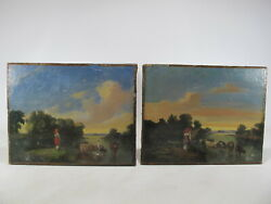 19th C European Pair Of Oil On Canvas Paintings, Unsigned Ar523