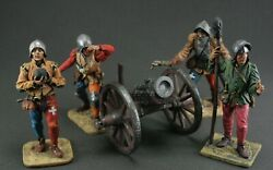 Collectible Tin Soldier 54 Mm. Medieval Artillery Band, Xv C. Set 5 Pieces