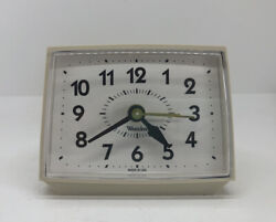 Vintage Westclox Alarm Clock Made In Usa Cream Wind Up Works Label Intact