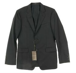 133364 Mens Solid Black Wool Two Button Blazer Jacket Size 48