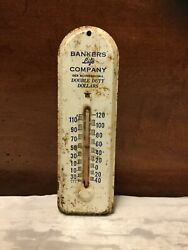 """Vintage 6-1/2"""" Tin Advertising Thermometer-bankers Life Company-des Moines, Iowa"""