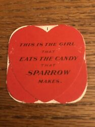 Vintage Valentines Day Card, Sparrow's Candy Advertising Card Fine Confections