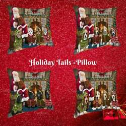 Christmas Cozy Fire Holiday Tails Dog Cat Pet Photo Throw Decorative Pillow