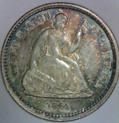 1861 1/0 1 Over 0 Seated Liberty Half Dime Uncirculated Quality Us Type Coin