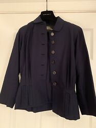 Vintage Wilma Womens Stunning Navy Peplum Blazer Fits A Size S No Tags Attached