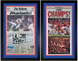 Philadelphia Phillies 1980 And 2008 World Series Champs Newspaper Covers Framed