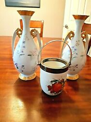 2 Antique Limoges Hand Painted Vase 12x51/2, 1 Pot 5 1/2x4 Free Shipping