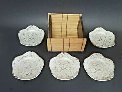 Japanese Flowers Scalloped Rim Condiment Plate Signed Set 5 W/ Bamboo Wood Case