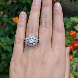 Art Deco Sterling Silver Cubic Zirconia Antique Halo Engagement Ring 2 Rings