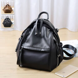 Vintage Real Leather And Nylon Small Backpack Rucksack Daypack Travel Bag Purse