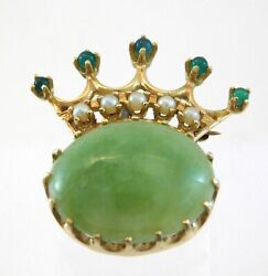 Vintage 14k Yellow Gold Green Jade Emerald And Pearl Crown Pin Brooch 6.7 Dwt