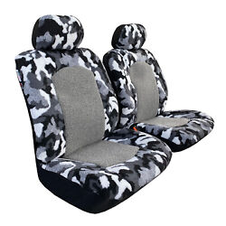 Faux Sheepskin Seat Covers Camo Grey Front For Toyota Tacoma Trd 2003-2021