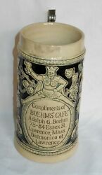 Antique Adolph G Boehms Cafe Advertising Stein Lawrence Mass 1900 Germany L@@k
