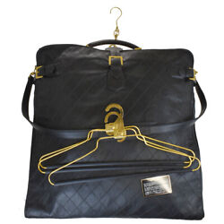 Authentic Logo Quilted Garment Bag Leather Hanger Black Italy 71la749
