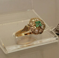 Womenand039s Ring Russian Soviet Ussr Jewelry Gold 14k ⭐️ 583 Diamonds And Emerald
