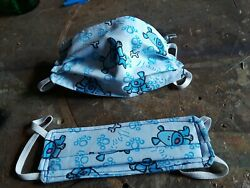 face mask fits kids age 4 to 7 Blue Puppies design handmade and new