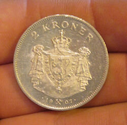 Norway - 1907 Silver 2 Kroner - Very Scarce And Nice