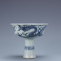 5.3 Antique Old China Porcelain Blue White Dragon High Feet Cup