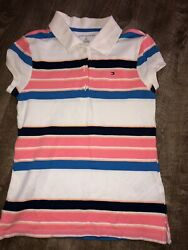 Tommy Hilfiger Girls Striped White Pink Short Sleeve Polo Shirt Size Small 6 7