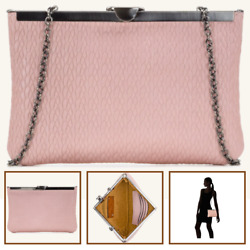 Patricia Nash Asher Twisted Frame Wristlet Clutch Crossbody Bag Chain Pink NEW $41.99
