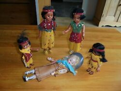 Vintage / Antique Native American Indian Squaws And Cowgirl Dolls