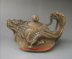 Rare Oriental Copper Signed Carved Dragon Teapot Statues