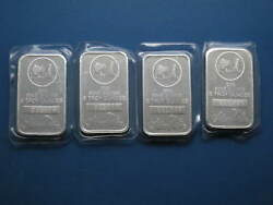Four Silvertowne Donkey Bars 5oz Silver Each With Consecutive Serial Numbers