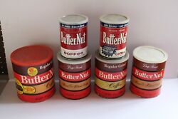 6 Vintage Butternut Coffee Tin Can Plastic Lids 3 Different Sizes