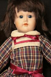 Vtg Schmid Doll House Musical Wind Up With Plaid Dress Ribbons Burgundy Shoes
