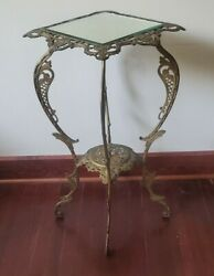 Antique Ornate Brass Metal Bradley And Hubbard Bandh Pedestal Plant Lamp Stand Table