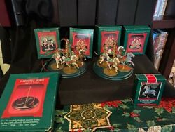 Hallmark Carousel Horse 2 Sets Of 4 With Display Stands 1989 Plus Zebra Ornament