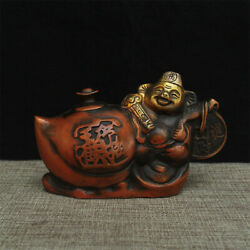 Antique China Hand Made Copper Gold-plating Pig Statue Teapot Old /xuande Mark