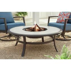 Fire Pit Table 48 In. Round Galvanized Steel Wood Burning Dark Brown Tile Top