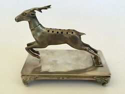 Antique Italy Judaica Spice Besamim Tool Container Bottle Silver Deer M2356