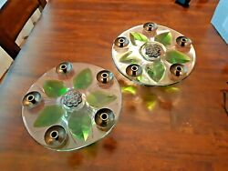 5 Day Left 2 Lalique Glass Candle Holder Centrepieces, 24x10cm Free Shipping