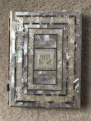 Vintage Mother Of Pearl And Abalone Illustrated Jewish Bible Haggadah Antique