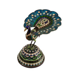 India Antique 19th Ce Silver And Enamel Peacock Figurine