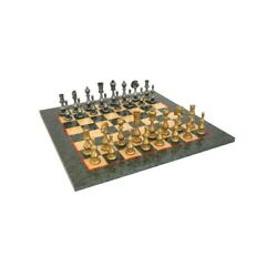 Solid Brass Chess Set With Luxurious Erable Wood Game Board