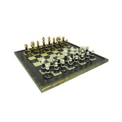 Unique Solid Brass/wood/gold And Silver Chess Set With Amazing Briar Erable Wood